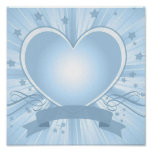 Light Blue Heart Design Poster
