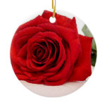 Long Stem Red Rose Ornament
